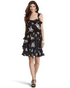 TIERED FLORAL TANK DRESS - White House   Black Market