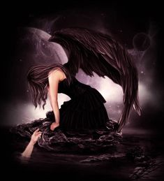 Group of Dark Angels And Goth Sad Angel, Crying Angel, Gothic Angel, Gothic Fantasy Art, Dark Wings, Beautiful Dark Art, Ange Demon, Arte Obscura, Angel Aesthetic