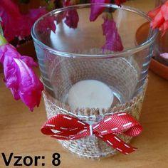 Svietnik sklenený s mašľou - Sviečka - S čajovou sviečkou (plus 0,10€), Vzor - Vzor 8