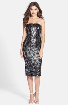 Dress the Population Dress the Population 'Olivia' Sequin Strapless Midi Dress available at #Nordstrom