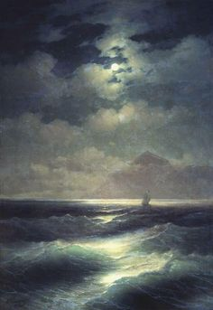Ivan Aivazovsky \\ View of the Sea by Moonlight. 1878