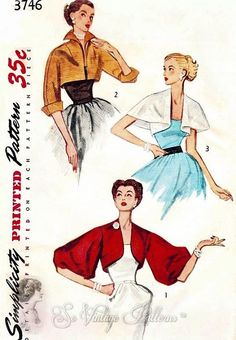 1950s Set of Short Jackets Pattern Day or Evening 3 Styles Dramatic Wing Collar, Cape Jacket and Stunning Full Sleeved Version Simplicity 3746 Vintage Sewing Pattern Bust 32