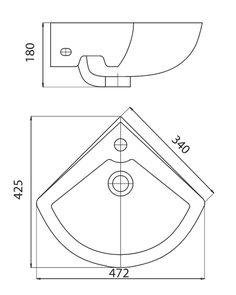 Bản vẽ lắp đặt chậu góc Viglacerea VG1 + Chân chậu đứng VI1T