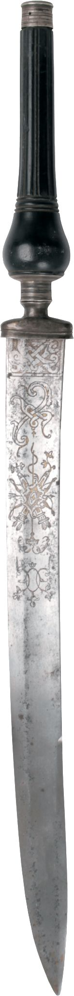 [#Claudio] FRENCH SILVER MOUNTED REVERSIBLE PLUG BAYONET C.1760  Mounted in silver with an ebony grip. It lacks any silver marks reinforcing a bespoke order. The blade is decorated with classic military trophies, That decoration is evidently unique on surviving examples and suggests an owner with a military background.