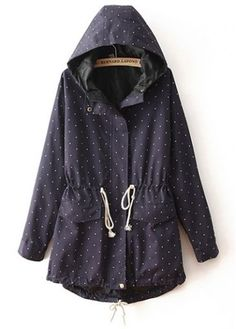 Trendy Long Sleeve Hooded Collar Printed Coat with Drawstring