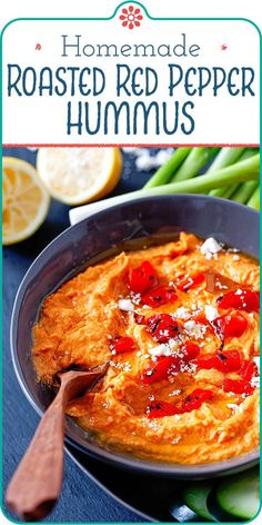 Roasted Red Pepper Hummus! Break out your food processor and make this creamy Roasted Red Pepper Hummus! This hummus is the perfect dip for vegetables and pita, or use it as a healthy sandwich spread. You'll be surprised at how easy it is. #simplyrecipes #hummus #roastedredpepper #easyrecipe