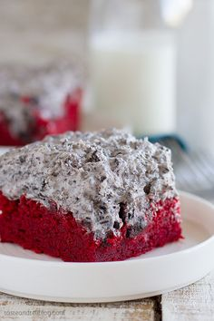 Red Velvet Sheet Cake Recipe with Cookies and Cream Frosting - Taste and Tell