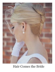 Classic bridal hair vintage inspired french twist hairstyle by Hair Comes the Bride.