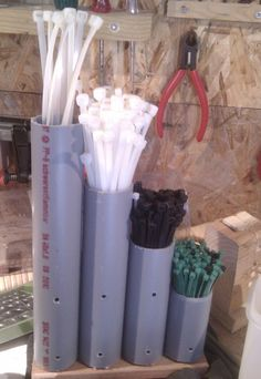 Clever Cable Tie Organizer Made from PVC Pipe. We use zip ties for everything, but we can never find them!