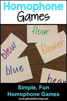 Homophone Games - simple ideas for teaching homophones
