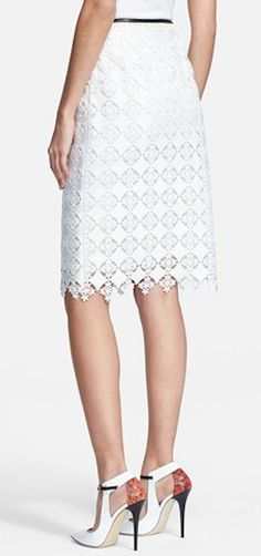 Beautiful leather trim lace skirt http://rstyle.me/n/f3tiyr9te