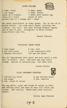 A cookbook compiled by the Woman's Society of Christian Service of Virginia Beach Methodist Church in Virginia Beach, Virginia. Retro Recipes, Old Recipes, Vintage Recipes, Cookbook Recipes, Candy Recipes, Baking Recipes, Sweet Recipes, Dessert Recipes, Cupcakes