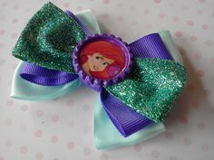 Ariel The Little Mermaid Hair Bow, alligator hair clip, pony tail holder, barrette or elastic heaband