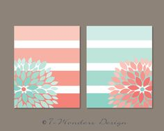 Floral Bursts Big Stripes Art Prints, Modern Home Decor Set of (2) 8 x 10 OR 11 x 14 sizes // Pink Coral and Mint Gift Guide on Etsy, $28.00
