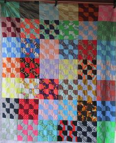 Vintage RETRO 1960's and 70's BOW TIE Quilt by AntiqueQuiltRevival.  Another bright polyester quilt...that 70s quilt!