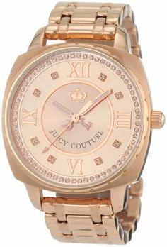 Juicy Couture Women's 1900807 Beau Rose-gold Plated Bracelet Watch Juicy Couture. $280.25. Water-resistant to 99 feet (30 M). Rose-gold sunray dial. Swarovski crystal track. Roman numeral markers; Brushed and polished rose-gold plated bracelet. Oversized rose-gold plated case