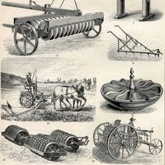 Agriculture Farming Equipment Tools Horses Hay Rake Tiller Vintage Tractor 1894 Original Antique Engraving 2 Sided print
