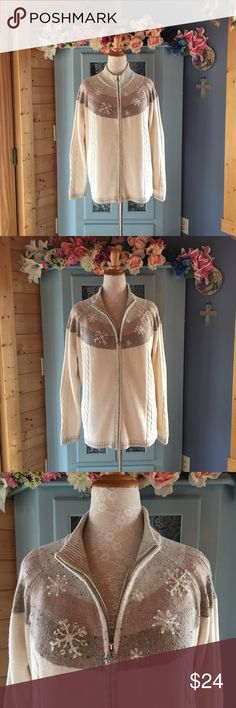 SweaterCoat Cardigan w/Embroidery & Pearls SOFT!! Beautiful zipper front SweaterCoat Cardigan. Very SOFT cozy feel. Has embroidered design with tiny pearls. Roomy sleeves you can cuff if you like. In perfect condition. Looks brand new. No balling. Very well made to last a long time. Absolutely gorgeous. Women's Plus size 1XL. (tag says 2XL but this is an accurate 1XL). 53% Ramie, 16% acrylic, 16% Nylon, 15% wool. Machine washable gentle cycle or hand wash. Use the bundle option for an…