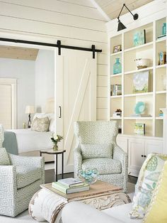 The Ohio -Sliding Barn Door Kit Closet Hardware Track System Set. I LOVE this white barn door. It would look wonderful outside our guest room's bathroom.