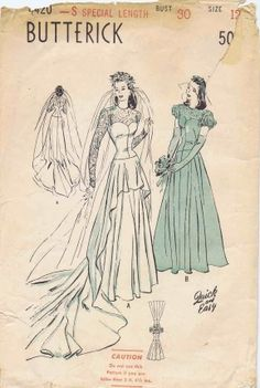 Butterick 4420 1940's Vintage Sewing Pattern Bridal Gown Cascade Drapery Wedding Dress