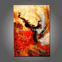 Gros espagnol danseur peinture à l'huile peinte à la main de haute qualité Flamenco Dancer peinture à l'huile sur toile pour décoration murale dans Peinture et calligraphie de Maison & Jardin sur AliExpress.com | Alibaba Group