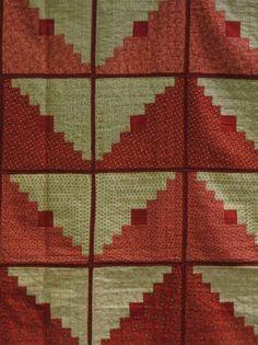 'POTHOLDER' UNIQUE LOG CABIN VARIATION ANTIQUE QUILT, reds and white