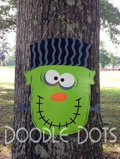 Frankenstein Door Hanger by DoOdLeDotsAnDmOre on Etsy, $30.00