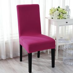 Spandex Washable Short Dining Stool Chair Cover Protector Seat Slipcover Fuchsia