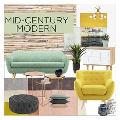 """Clean Spaces: Mid-Century Modern"" by moody-board ❤ liked on Polyvore featuring interior, interiors, interior design, home, home decor, interior decorating, Brewster Home Fashions, Paul Frank, Bungalow 5 and Chive"
