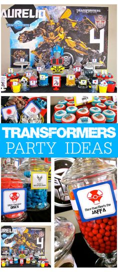 Check out this Transformers party with Bumblebee and Optimus Prime! See more party ideas at CatchMyParty.com!