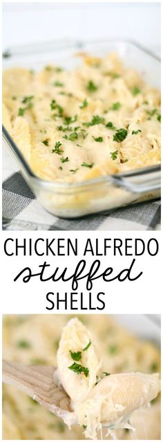 Chicken Alfredo Stuffed Shells Recipe from SixSistersStuff.com | Quick and Easy Dinner Ideas | Freezer Meals | Italian Recipes