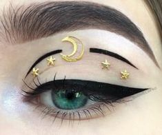 Moon Eyes > gold moon and star design > eye makeup art > night festival look The Effective Pictures We Offer You About Lip Makeup liner A quality picture can tell you many th Dead Makeup, Eye Makeup Art, Cute Makeup, Pretty Makeup, Makeup Salon, Makeup Studio, Sfx Makeup, Airbrush Makeup, Hair Makeup
