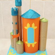 Recycle cardboard tubes of all kinds and make a great castle centerpiece for your next party!