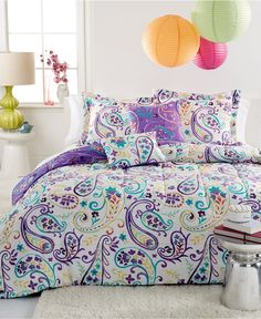 Interior. purple carving bedding set under colorful round lantern connected by white wall theme. Amazing Bedding For Teenage Girl Make The Bed Being Cozy And Chic