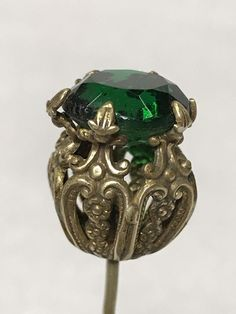 Victorian Edwardian Hat Pin Glass Emerald Thistle Shape