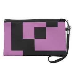 Black Squares on Radiant Orchid Wristlet Purse by M to the Fifth Power #mtothefifthpower