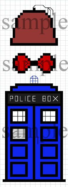 Cross Stitch Pattern - Doctor Who 11 - The TARDIS, The Fez and The Bow Tie