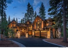 Custom Homes Lake Tahoe, Martis Camp Truckee Northstar Log Cabin Living, Log Cabin Homes, Log Cabins, Rustic Houses Exterior, Dream House Exterior, Mountain Homes, Mountain Style, Mountain Living, Beautiful Home Designs