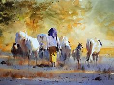 Going Home with Cows   watercolour by Myoe Win Aung