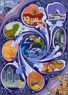As ilustrações em estilo de vitrais de fantasia de Jian Guo