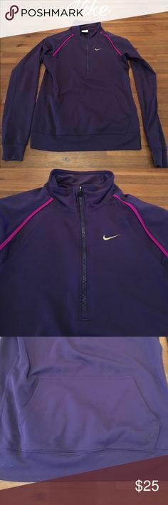 """Women's Nike Long Sleeve Dri-Fit Top Women's size Small Nike Dri-Fit long sleeve Top. Zips on top front. Pocket on front middle. Purple with magenta detail. Gold Nike swish on front. 100% polyester. No stains or tears. Smoke free home. Excellent condition.Bust measures 16 1/2"""" and length measures 23"""". Nike Tops Sweatshirts & Hoodies"""