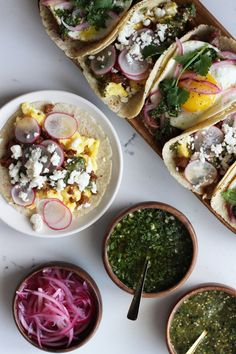 combos: a scrambled egg, chorizo taco topped with roasted tomatillo ...
