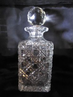 Antique American Brilliant Cut Crystal Small Decanter/ Cologen Bottle. #AmericanBrilliant