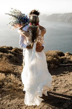 Whimsical & bohemian wedding in Greece- Destination wedding in the Mediterranean Santorini Photographer, Greece Destinations, Destination Wedding, Wedding Planning, Greece Wedding, Tie The Knots, Love Story, Whimsical, Bohemian