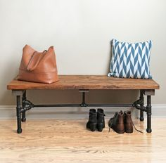 A stylish pipe bench for your home that you can build yourself!  For more how-to projects, visit www.instagram.com/loweshomeimprovement!