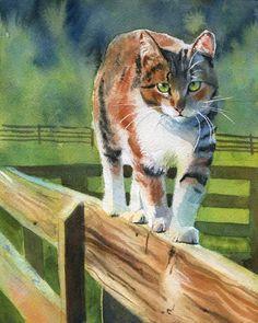 PRINT Tortoise Shell Tabby Cat art painting fence. $25.00, via Etsy.