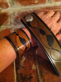Leather Cuff  Distressed Hand Carved Painted
