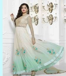 Buy White and sea green georgette embroidered semi stitiched salwar with dupatta party-wear-salwar-kameez online