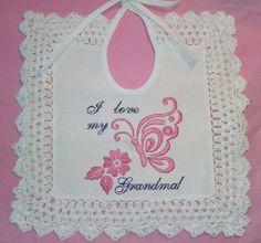 Embroidered Baby Bib, Lace Trim, vintage style, I love Grandma, Aida cloth bib, tie back bib, girl baby bib, burp cloth, infant bib