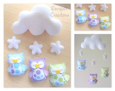 Crib mobile owls  baby mobile  owl mobile   mobile cloud